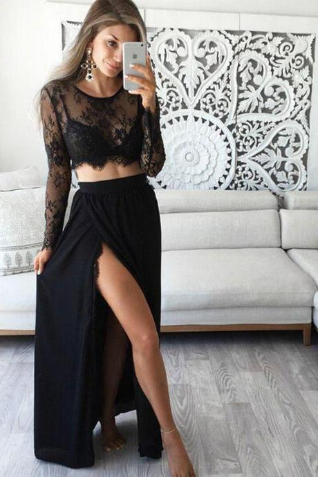 Sexy A-line Two-piece Black Lace Long Prom Dress Evening Dress with Side Slit,Chiffon Prom Gowns,Long Prom Dress,Party Dress,Evening Prom Dress,