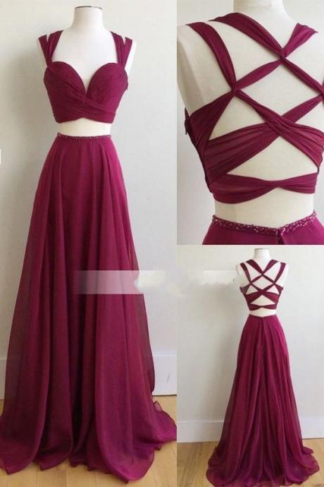 Two Piece Long Prom Dress, 2017 Burgundy Long Prom Dress, Formal Evening Dress, Maroon Long Prom Dress, Party Dress