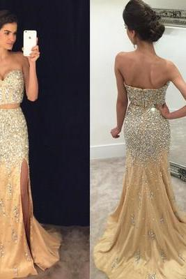 Sexy Split Side Prom Dress, 2017 Prom Dress, Champagne Prom Dress, Luxury Beaded Prom Dress, Two-piece Prom Dresses, Mermaid Evening Dress,Long Prom Dresses