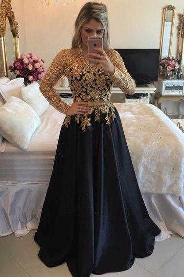 2017 Sexy Illusion Back Long Party Dresses, Long Sleeve Black Prom Dresses With Gold Sequins, A Line Black Satin Pageant Prom Dresses, Jewel Neck Black Gala Dresses Plus Size 2017, Formal Black Evening Dress,Customize Gold Beaded Party Dress