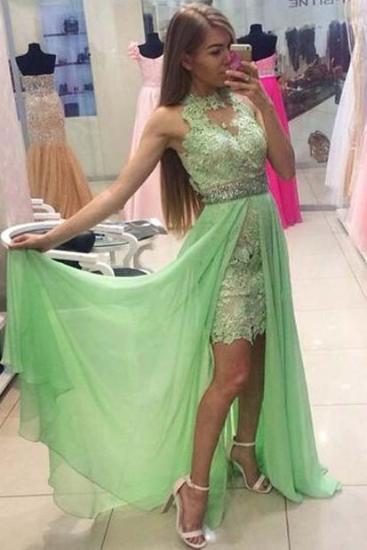 Halter Green Prom Dress,Chiffon Long Prom Dresses,Evening Dress