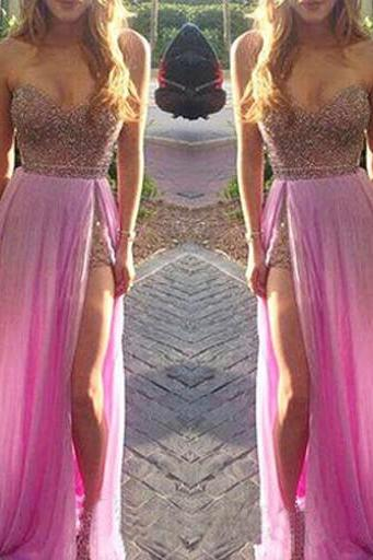 Custom Pink Prom Dress with Slit,Sweetheart Prom Dress,Sexy Prom Dress,Long Prom Dress,Pink Evening Dress, Cheap Evening Dress, Formal Dress, Homecoming Dresses, Graduation Dress, Party Dress
