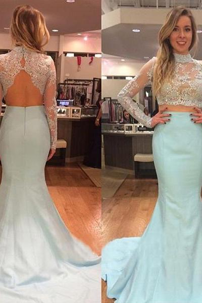 Custom Two 2 Pieces Prom Dresses, Long Sleeves Prom Dress, Mermaid Prom Dress, Satin Prom Dress, Light Blue Prom Dress, Affordable Prom Dress, Junior Prom Dress, Formal Evening Dresses Gowns, Party Dresses, Plus size