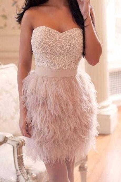Custom Pink Prom Dress, Short Prom Dresses,Beaded Prom Dress, Feathers Prom Dress, Cheap Prom Dress, Prom Dress Short,Homecoming Dress, Homecoming Dresses On Sale, Cocktail Dress, Party Dress