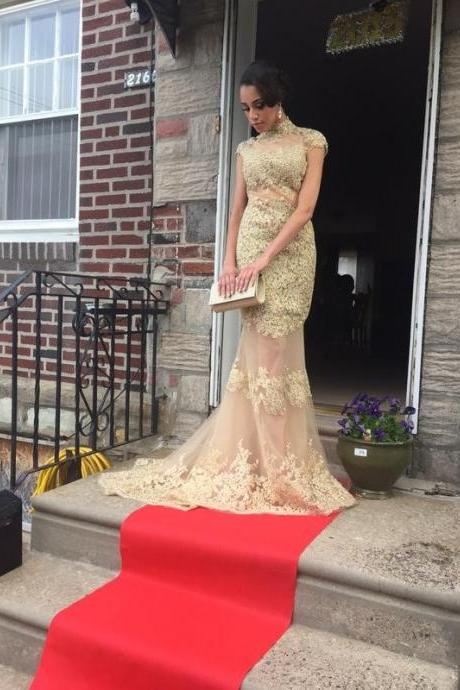 Custom Mermaid Prom Dresses, Gold Prom Dress, Backless Prom Dress, Long Prom Dress, Tulle Lace Prom Dress, Affordable Prom Dress, Junior Prom Dress,Gold Formal Evening Dresses Gowns, Party Dresses, Plus size