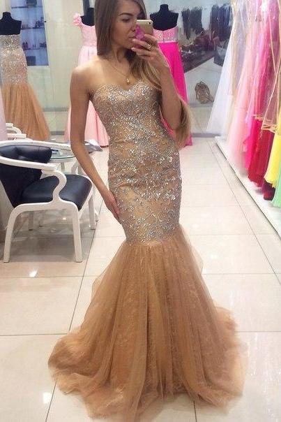 Custom Cheap Beaded Sweetheart Long Tulle Champagne Mermaid Prom Dresses Gowns 2016 , Formal Evening Dresses Gowns, Homecoming Graduation Cocktail Party Dresses, Holiday Dresses, Plus size