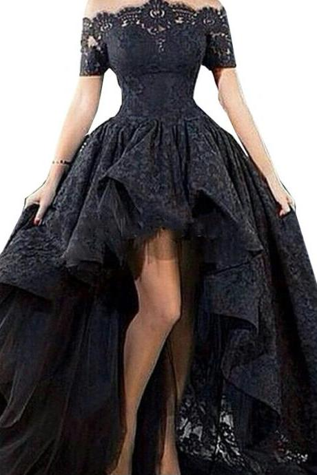 Charming Black Lace Evening Gown Hi Low Off the Shoulder Party Short Front Long Back Prom Evening Dress