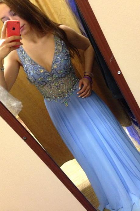 Charming Prom Dress,Chiffon Prom Dress,V-Neck Prom Dress,Beading Prom Dress,A-Line Prom Dress