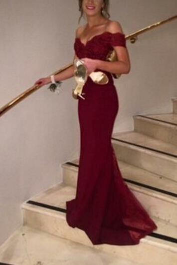 Pretty Off Shoulder Burgundy Prom Dresses with Lace, Evening Gowns, Formal Dresses, Burgundy Prom Dresses
