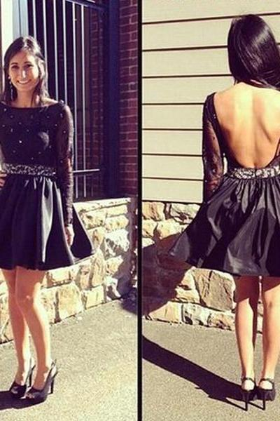 Long Sleeves Backless Homecoming Dresses Crystal Beads A-line Black Short Dress for Teens