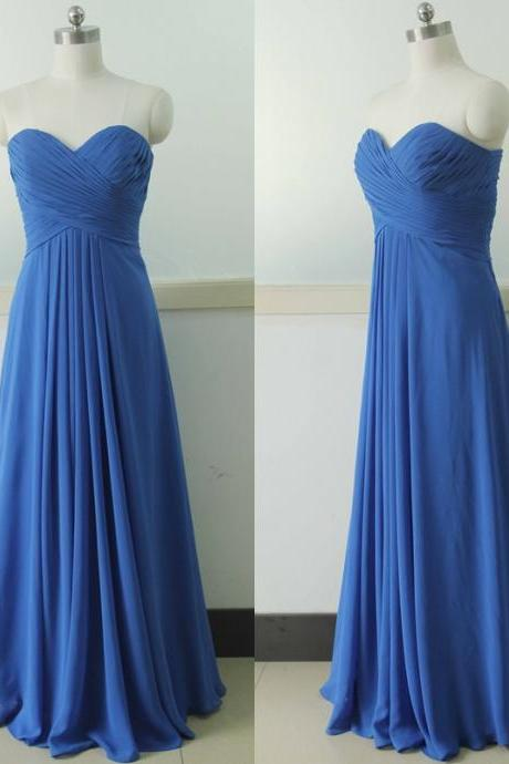 Sweetheart Chiffon Bridesmaid Dress Floor Length Bridesmaid gown Royal Blue Bridesmaid dress Floor Length Bridesmaid dresses Prom Party Gown Wedding Party Gown Beach Wedding Bridesmaid dress