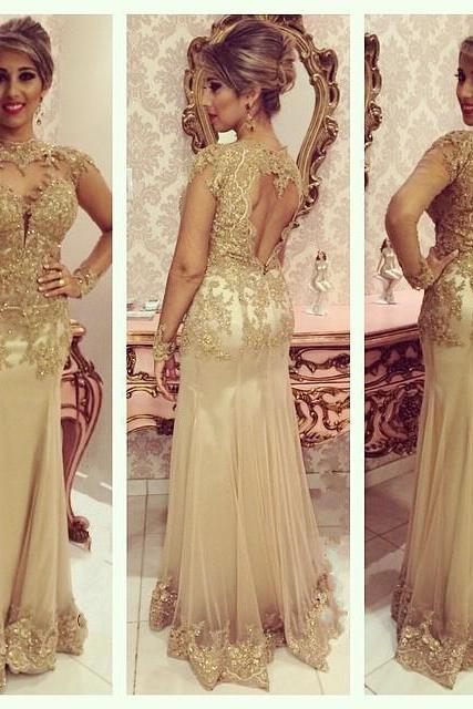 Tulle Formal Dress, Lace Formal Dress, Gold Lace Evening Dress, High Neck Evening Dress, Beading Evening Dress,Long Evening Dress, Backless Evening Dress, Mermaid Formal Dress