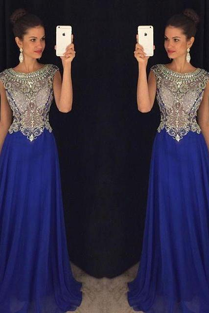 High Quality Beading Chiffon Long Formal Dresses,2017 New Fashion A-Line Evening Dresses,Handmade Prom Dresses