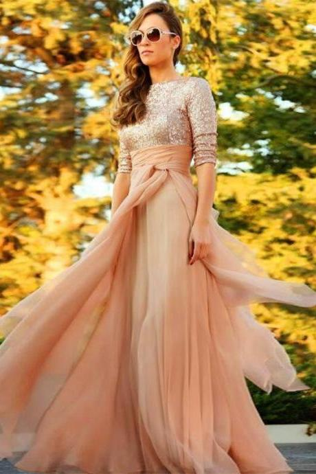 Fashionable Half Sleeve Scoop Long Party Dresses A-line Sequins Chiffon Pleat Women Dresses Formal Prom Gowns