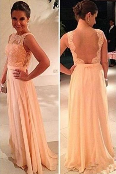Backless Lace Chiffon Bridesmaid Dress Long Evening Dress Prom Dress Custom Made Bridal Party Dress