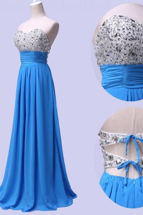 Sexy Sky Blue Chiffon Sweetheart Bridesmaid Dresses, Elegant Beaded Long Formal Dresses, Wedding Party dresses,2017 Evening Gowns