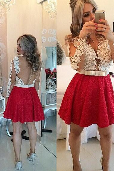 Sexy Short Homecoming Dress, Red Lace Beaded Homecoming Dresses,Long Sleeves Homecoming Gowns,Backless Party Dress,Short Prom Dresses,Sweet Dress,Party Gowns