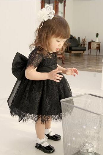 Flower Girl Dress, New Flower Girl Dress, Big Bow Flower Girl Dress, Baby Girl Party Dress, Girl Lace Dress, Black Bridesmaid Dress, Children Dress