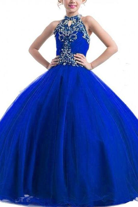 2017 Girls High Neck Beads Flower Girl Pageant Ball Gowns Tulle Beading Flowergirl Party Dresses Royal Blue Flower Girl Dress