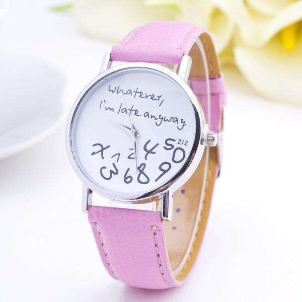 woman wrist watch,I am late anyway green cool teen watch