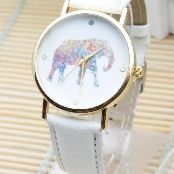 woman wrist watch,Elephant Colorful Face Pu Leather Green Band Unisex Watch
