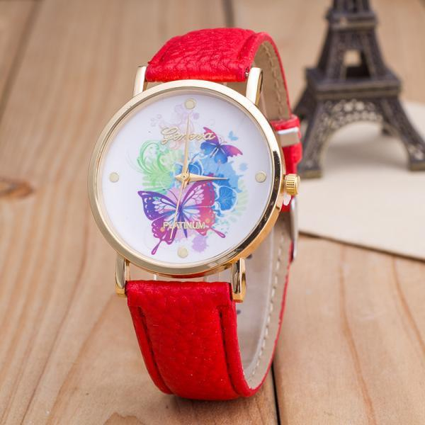 woman wrist watch,The butterfly Colorful Face Pu Leather Green Band Unisex Watch