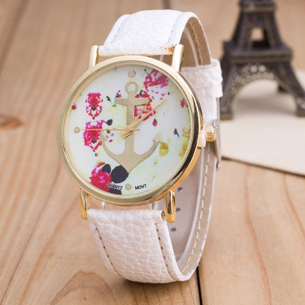 woman wrist watch,Anchor watch Colorful Face Pu Leather Green Band Unisex Watch