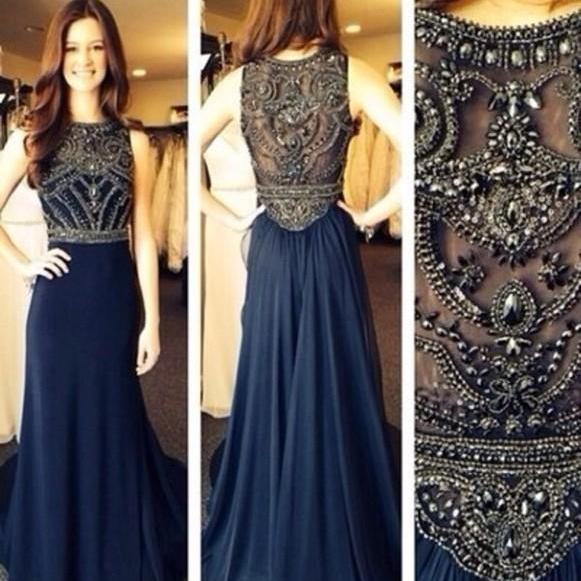 Sexy Through Beaded Prom Dresses 2015 A Line Floor Length Evening Gowns 2015