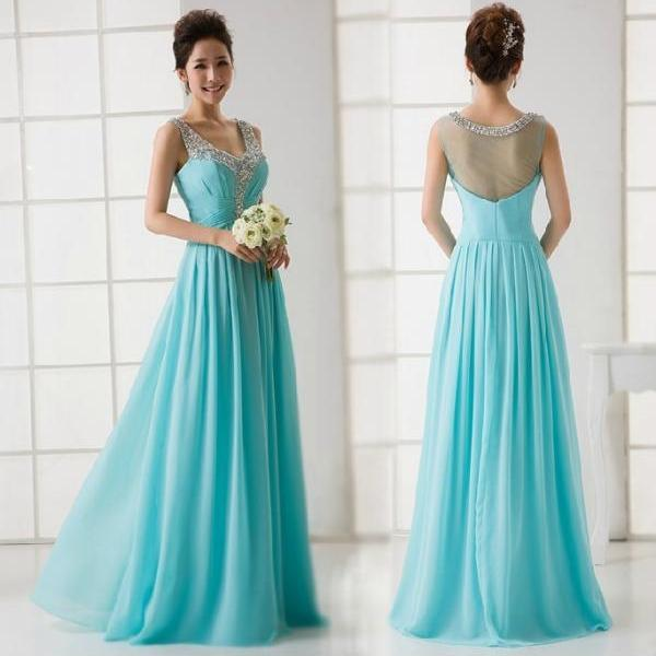 Elegant Turquoise V-neck See Through Back Beaded Evening Dress Formal Prom Party Dress Long Chiffon Dresses 2015