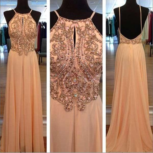 Gorgeous Scalloped Neckline Sleeveless Strong Beaded/Crystal Chiffon Long Prom Dresses 2015 A-Line Cheap Evening Gowns Backless