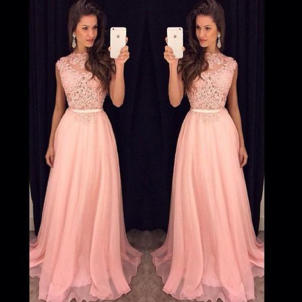 Blush Pink Prom Dresses,A-Line Prom Dress,Lace Prom Dress,Simple Prom Dress,Chiffon Prom Dress,Simple Evening Gowns,Cheap Party Dress,Elegant Prom Dresses