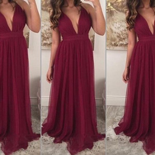 Burgundy Prom Dresses,Chiffon Prom Gown,Wine Red Prom Gowns,Simple Evening Dress,Beautiful Evening Dress,Wine Red Formal Dress