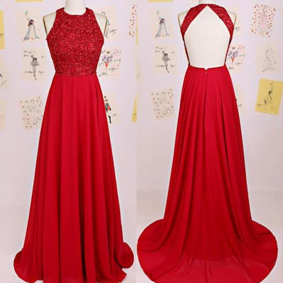 Charming Prom Dress,O-Neck Prom Dress,A-Line Prom Dress,Chiffon Prom Dress,Backless Evening Dress