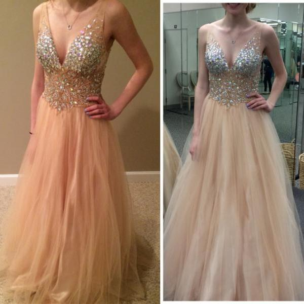 Charming Prom Dress,V-Neck Prom Dress,A-Line Prom Dress,Sequined Prom Dress,Tulle Prom Dress