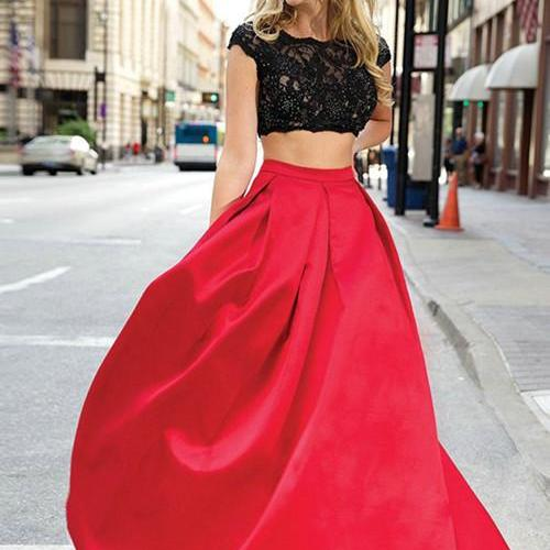 Two Piece Prom Dress, Red Dresses,A Line Scoop Evening Dresses, Black Applique Lace Evening Dresses,Beaded Evening Dresses,Open Back Evening Dresses,Long Evening Dresses