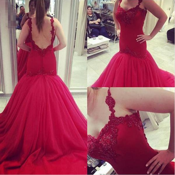 Backless Prom Dresses,Sweetheart Prom Dresses,Mermaid Prom Dresses,Long Prom Dresses,Applique Lace Prom Dresses,Burgundy Tulle Prom Dresses ,Formal Evening Gowns
