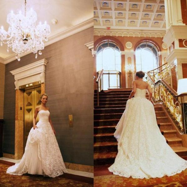 Lace Wedding Dresses,Strapless Wedding Gown , Ivory Bridal Dress,Ball Gown Wedding Dress,Beautiful Brides Dress
