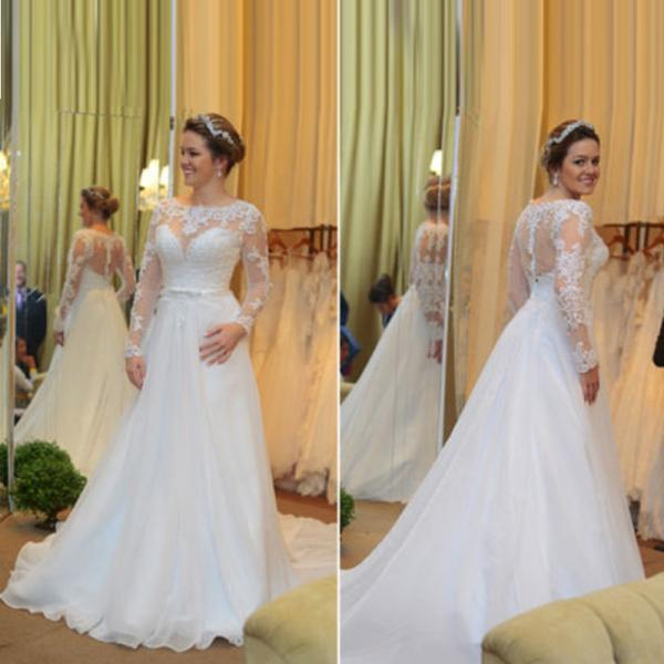 Scoop Long Sleeve Bridal Dresses,A Line Bridal Dresses,Lace Wedding Gowns ,White Chiffon Bridal Dresses