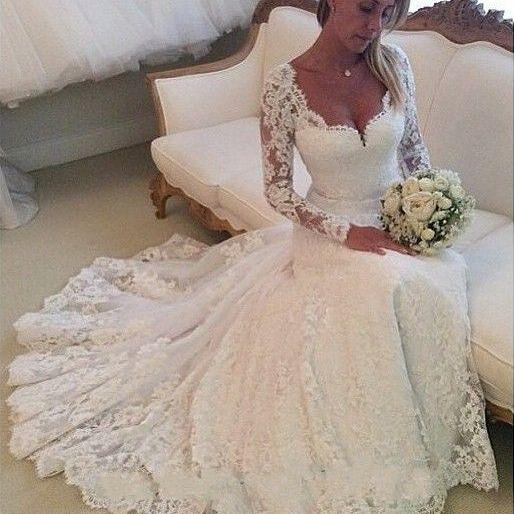 A Line Princess Lace Wedding Dresses,Long Sleeves Bridal Wedding Dress,Cheap Custom Made Beach Bridal Wedding Gowns,Back Buttons Wedding Dresses 2016