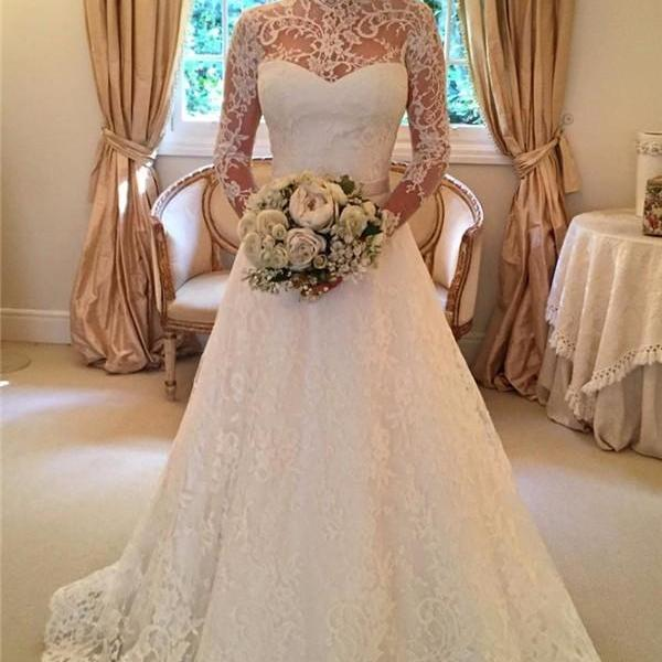High Neck Wedding Dresses ,Long Wedding Dress,2016 Wedding Dress,Long Sleeves Bridal Gowns, Sweep Train Bridal Dresses, Lace Wedding Dresses with Sash,Open Back Bridal Wedding Gowns