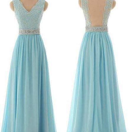 Prom Dress, Sexy Lace Prom Dresses,Blue Prom Dress,Modest Prom Gown,Light Blue Prom Gown,Evening Dress,Backless Evening Gowns,Party Gowns,Formal Dress