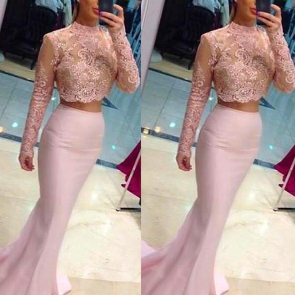 Formal Dress, Modest Prom Dresses,Sexy New Prom Dress,Gorgeous Cheap Two Piece Prom Dress with lace New Arrival pink Formal Occasion Dresses,Formal Dress