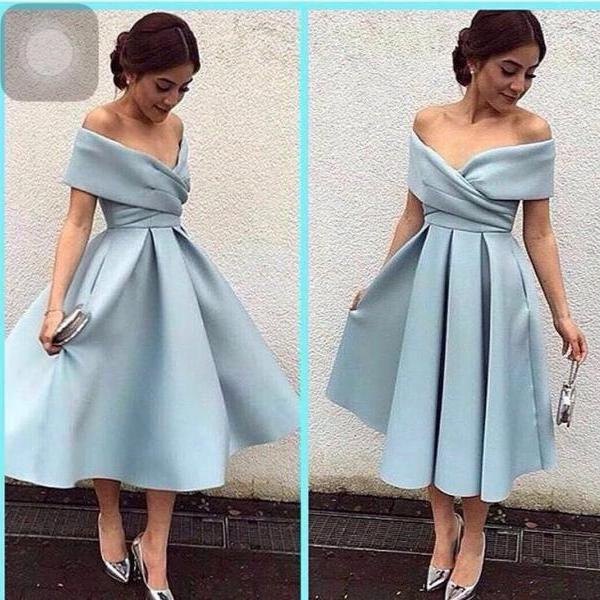Homecoming Dress,Off The Shoulder Tea Length Satin Homecoming Dress, Cocktail Dress, Formal Gown,Cocktail Dress, Formal Occasion Dresses,Formal Dress