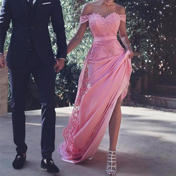 Prom Dress,Sexy Evening Gowns Pink Off The Shoulder Fitted Prom Dresses, Evening Gown With Lace Bodice, Formal Occasion Dresses,Formal Dress