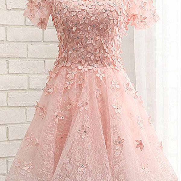 Pink Off The Shoulder Short Sleeve Floral Lace Homecoming Dress With Floral Appliqués and Lace-Up Back Detailing