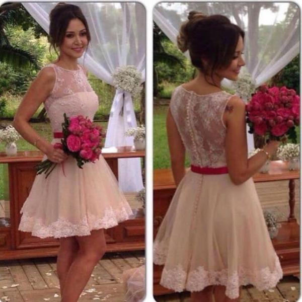 short prom dress, champagne prom dress, knee-length prom dress, homecoming dress, junior prom dress, lace prom dress, party dress