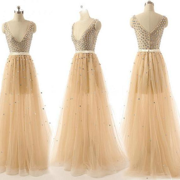 Long prom dress, champagne prom dress, tulle prom dress, off shoulder prom dress, v-neck prom dress, formal prom dress, inexpensive prom dress, modest prom dress,
