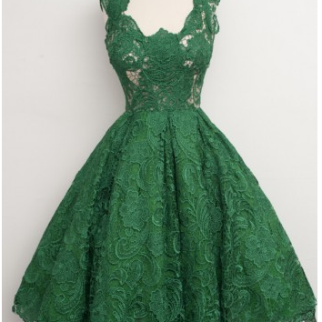 Vintage Scoop Homecoming Dress,Green Lace Homecoming Dress,Knee-Length Homecoming Dresses