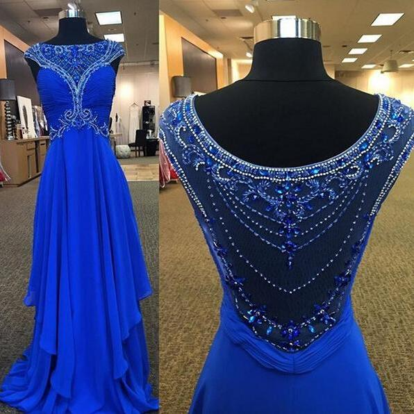 Long prom dress, royal blue prom dress, gorgeous prom dress, elegant prom dress, popular prom dress, unique prom dress, chiffon prom dress, evening dress,