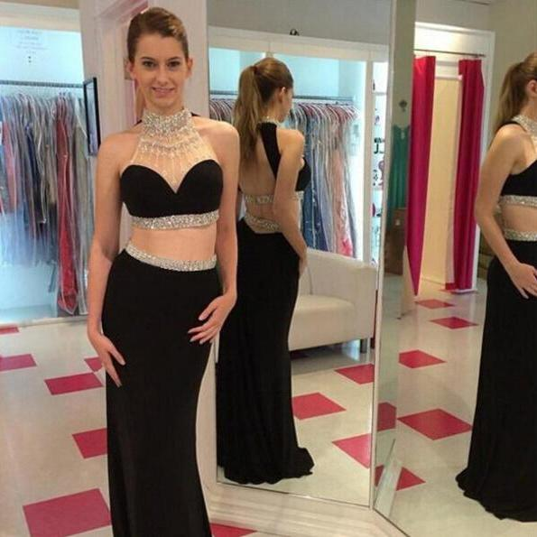 Long prom dress, black prom dress, two piece prom dress, sexy prom dress, floor-length prom dress, new design prom dress, custom prom dress, popular prom dress,
